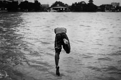 h a l f m a n (notjustnut) Tags: life blackandwhite bw swim river thailand jump bangkok dive chaopraya thaiculture