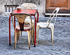TWO'S COMPANY, THREE'S A CROWD (Irene2727) Tags: rome table chair rusty piazza ilobsteri
