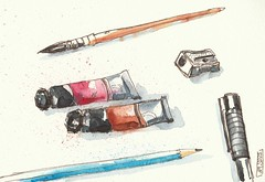 Sketching tools (Aurelie Morin) Tags: stilllife moleskine ink watercolor sketch drawing aquarelle sketchbook dessin encre sketchkit