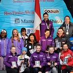 U14 Whistler Cup Dual Slalom Girls' Podium including Kaysa Panke, Catherine Carruthers and Ella Renzoni