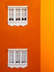 Two whites on dark orange by light orange (Paco CT) Tags: color window grancanaria yellow ventana spain construction amarillo construccion naranja esp laspalmas 2014 pacoct rogande