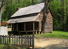 0840 (Marbeck53) Tags: trip travel trees vacation building grass architecture canon fence landscape eos scenery shed logcabin cadescove dirtpath smokymts 60d marbeck53 markriesenbeck