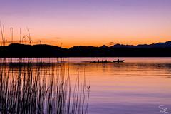 Rowing on the lake (slaiv91) Tags: italien sunset italy lake mountains colors montagne lago see boat barca italia tramonto colours rowing colori varese canoa farben canottaggio