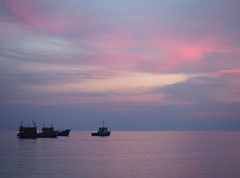 Pink Sky (nschleheck) Tags: ocean travel pink sunset red sea sky holiday tourism beach water clouds thailand boats island boat asia paradise south east serenity koh lipe pattaya 15challengeswinner