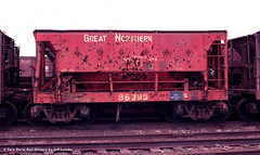 Great Northern Iron Ore Car 86399 at Allouez Wisconsin in 1979 (Twin Ports Rail History) Tags: history jeff car by wisconsin burlington iron time great stock machine twin superior rail bn northern ports ore gn rolling lemke allouez