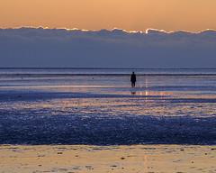 Crosby 14 (JodBart) Tags: blue sunset sky orange beach water reflections sand shadows purple ripples antonygormley anotherplace crosbybeach
