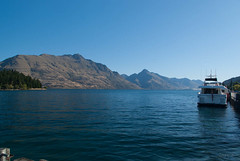 Lovely Waters of Lake Wakatipu (Jocey K) Tags: trees newzealand sky mountain lake boats evening hills wharf southisland centralotago queenstown lakewakatipu tripdownsouth