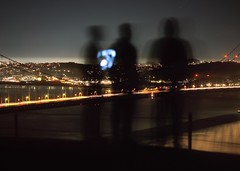 Night People (RZ68) Tags: city morning bridge light sky 3 black men water silhouette skyline night dark out golden bay early slick cool gate san francisco phone being marin group young cellphone guys trail velvia headlands hanging late dudes provia chill rz67 ggnra e100