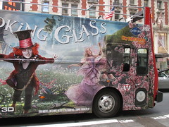 Alice Through the Looking Glass Bus Billboard 9141 (Brechtbug) Tags: street new york city nyc bus film glass cat movie tim looking cheshire near alice broadway lewis disney double billboard johnny billboards carroll through mad depp avenue wonderland 7th 42nd hatter burtons decker in 2016 05192016