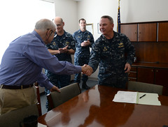 Capt. Michael Taylor shakes hands with Fred Harris, president of Bath Iron Works. (Official U.S. Navy Imagery) Tags: usa photo bath ship unitedstates navy maine may photograph future delivery roger duncan ironworks 2016 generaldynamics zumwalt