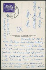 """Archiv E519 """"Abschied vom Arbeitsdienst; Abschiedsfeier"""" (back), Poststempel Hersbruck vom 20. 10. 1941 (Hans-Michael Tappen) Tags: stamps postcard thirdreich ephemera 1940s 1941 postkarte handschrift hersbruck briefmarke nazigermany drittesreich poststempel 1940er archivhansmichaeltappen"""