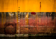 Marks on hull (Philippe POUVREAU) Tags: port harbor ship harbour hull drydock franc saintnazaire coque navire 2016 loireatlantique shiprepair carnage drydocking hullpainting