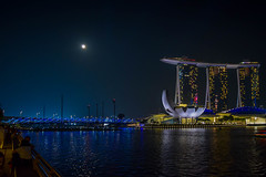 Moonlight (najibnoordin) Tags: night singapore city moon blue hotel river bridge marina