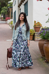 Floral Maxi Dress, Denim Jacket, brown sandals-5.jpg (LyddieGal) Tags: california ona bananarepublic blue camerabag denim fashion floral gap gorjana maxi outfit pineapple spring style trask travel vacation wardrobe weekendstyle