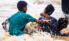 Water bonding and fun (sphema) Tags: summer beach boys friendship happiness marinabeach besantnagar waterisfun photographyisfun nammachennai bessiebeach mychennai