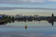 Buoy, Salford Quays. 23rd June 2016. (craigdouglassimpson) Tags: england water reflections manchester morninglight salfordquays lancashire buoys industrialbuildings