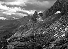 Cirque de Gavarnie (Ralf Pelkmann) Tags: bw white mountain snow black france monochrome stones dramatic structure rugged pyrenees