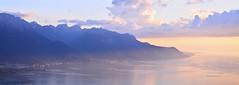 (Leela Channer) Tags: blue sunset lake mountains alps nature clouds landscape switzerland evening scenery colours hills lakegeneva montreux swissalps waterscape caux