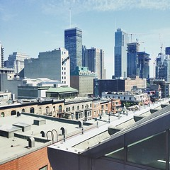 Downtown Montral (2015) (NatalieKavanagh97) Tags: construction overlooking skyscrapers peaceful clearskies buildings 2015 summer qubec montral downtownmontral
