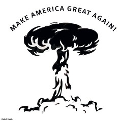 make america great again (khalid Albaih) Tags: khalid albaih cartoons khartoon freedom speech press political       refugees welcome isis is islamic belgam make america great again madonna iraq syria sudan yemen listen gob