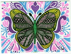 Put a Butterfly on it 1200 (Manurnakey) Tags: postcard doodle handdrawn zentangle zendoodle