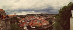 CZECH REPUBLIC, city close To Prague - By Cellphone (Life In Black n' White) Tags: old city red sky panorama republic czech prague cloudy cellphone chruch murky