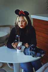 Minnie Mouse (TheJennire) Tags: camera winter light portrait people luz cup face fashion scarf canon hair cores photography photo colours foto drink young lifestyle style disney colores mcdonalds teen indie turtleneck minnie minniemouse fotografia curlyhair camara cabelo pelo cabello tumblr
