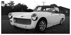 Sprite (daveelmore) Tags: bw panorama classic car blackwhite automobile sprite 1967 vehicle austinhealey stitchedpanorama lumixleicadgsummilux25mm114