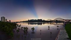 () (szintzhen) Tags: bridge sky reflection water sunrise taiwan photomerge       sunglow       newtaipeicity