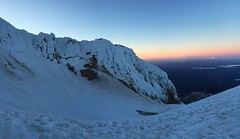 Sunrise on Devil's Kitchen Headwall and Mt Jefferson (Melinda Mary) Tags: oregon climbing cascades mthood mountaineering wyeast