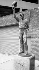 Yaz Statue - Fenway Park (paulgumbinger) Tags: red blackandwhite statue boston 35mm nikon baseball massachusetts extreme sox 100 f3 fenway yaz ultrafine