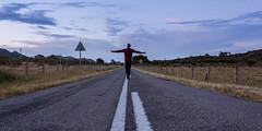 Only me (Le2 - www.le2.es) Tags: madrid road longexposure sunset espaa lines landscape atardecer person persona spain carretera paisaje nasa espagne lineas lightroom largaexposicion robledodechavela le2 canon1000d