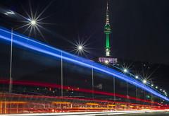 Namsan Lights (http://rearnakedjoke.net) Tags: longexposure landscape traffic landmarks seoul lighttrails namsan namsantower nseoultower