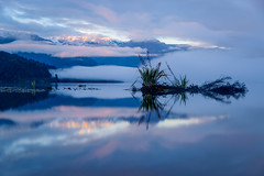 Lighting Tasman (ajecaldwell11) Tags: mttasman sunrise ankh westcoast reflection southernalps trees newzealand cloud mist forest sky fog water caldwell dawn bush