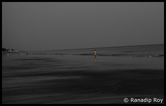 Walk on the Shore (RanadipRoy) Tags: shore reflection water wet moist sand horizon sky kid child walk stroll waves ocean sea bayofbengal beach landscape nature outdoor evening explore trip tour travel journey tourist westbengal digha vista view idyllic person picturesque yellow coloraccent colorsplash colorpop dusk twilight sunset india nikon d5000 nikond5000 holiday