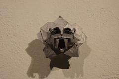 Origami head of Quetzalcoatl (mehjg) Tags: art mexico origami arte exhibit monterrey mexicano quetzalcoatl parquefundidora 2015 nuevolen exhibicin navegeneradores worldorigamidays origamex