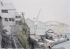 Cockatoo Island - Four Cranes and a Bridge (Peter Rush - drawings) Tags: bridge cliff river island harbour crane sydney cranes architect peter rush sheds parramatta cookatoo