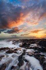 Secret Sunset (Thorsten - www.thorstenscheuermann.com) Tags: ocean sunset vacation sky motion color water clouds hawaii rocks secretbeach maui molokini kahoolawe weddingbeach makenacove