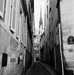 Tower of Notre Dame (Purple Field) Tags: street bw paris france 120 6x6 tlr film monochrome analog rolleiflex square alley kodak trix 400tx medium   f28  schneider kreuznach 80mm    28f  xenotar        stphotographia x