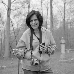 Kelli, Ghost Hunter (Paul Glover) Tags: portrait cemetery graveyard squareformat ghosts hunter kelli paranormal investigator evp