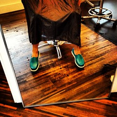 Getting my hair cut (Remarqed.com) Tags: wood city gay haircut green hair tampa mirror boat chair shoes floor florida native teal rubber chrome barber tribeca ybor colorsalon instagram uploaded:by=flickrmobile flickriosapp:filter=nofilter
