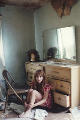 (yyellowbird) Tags: house selfportrait abandoned girl mirror illinois desk lolita wig cari
