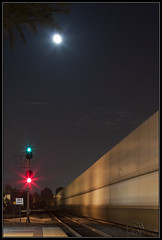 Moon over Control Section (K-Szok-Photography) Tags: california moon night train canon outdoors nightimages trains signals socal transportation nightshots oc canondslr fullerton fullertoncalifornia 50d canon50d railwayinfrastructure kenszok kszokphotography