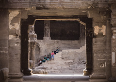 Ellora Caves - Steps (MyXP) Tags: old family india rock stone canon temple sitting indian steps pillars aurangabad elloracaves sigma1770 60d