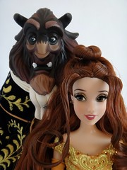 Belle and the Beast Doll Set - Disney Fairytale Designer Collection - US Disney Store Purchase - First Look - Deboxed - On Display Stand - Belle and Beast Facing Forward - Portrait Front View (drj1828) Tags: us belle beast purchase beautyandthebeast disneystore firstlook dollset deboxed disneyfairytaledesignercollection