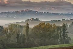Paeseggio d'autunno (Massimo Feliziani) Tags: foglie alberi sunrise landscape italian italia alba vista autunno marche paesaggio colline collina macerata foschia paese paesi sanginesio