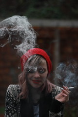 """[1-365] """"Sleeping Sickness""""-City and Colour (Zeptar Photography) Tags: seattle girl triangles candid smoke 365 cigarettes smoker seattlelife capturedmoments geometricpatterns colorpop 365project 365portraits girlswithpiercings"""