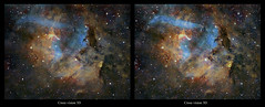 Sharpless 106, a Cross vision stereo pair (J-P Metsavainio) Tags: stars colorful space nebula astronomy diffuse emission starfield nebulae