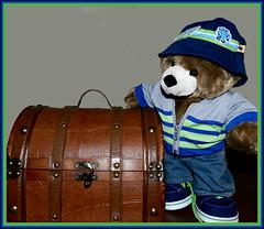 Jeremy's New Clothes (marilyntunaitis) Tags: jeremy plush teddybear stuffedanimals trunk 2014photoadaychallenge
