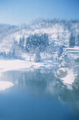 (.) Tags: winter snow nature japan forest river